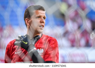 Poznan, Poland - June 8, 2018: International Football friendly match: Poland vs Chile 2:2. Goalkeeper Wojciech Szczesny.