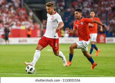 Poznan, Poland - June 8, 2018: International Football friendly match: Poland vs Chile 2:2. In action Karol Linetty.