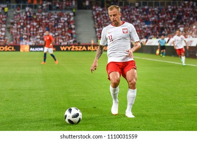 Poznan, Poland - June 8, 2018: International Football friendly match: Poland vs Chile 2:2. In action Kamil Grosicki.
