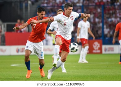 Poznan, Poland - June 8, 2018: International Football friendly match: Poland vs Chile 2:2. In action Robert Lewandowski.