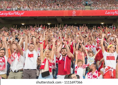 Poznan, Poland - June 8, 2018: International Football friendly match: Poland vs Chile 2:2. Supporters of Poland.