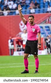 POZNAN, POLAND - JUNE 8, 2021: Friendly football match Poland - Iceland 2:2. In action Balazs Berke mein referee.