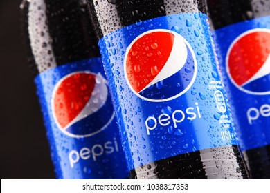 POZNAN, POLAND - MAR 1, 2018: Plastic bottles of Pepsi, a carbonated soft drink produced by PepsiCo. The beverage was created and developed in 1893 under the name Brad's Drink