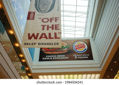 POZNAN, POLAND - Mar 16, 2014: Hanging signs in the Galeria Malta shopping mall