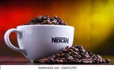 POZNAN, POLAND - MAR 29, 2019: Cup of Nescafe coffee, a brand of Swiss coffee made by Nestle and introduced in 1938