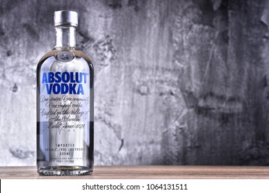 POZNAN, POLAND - MAR 30, 2018: Bottle of Absolut Vodka, a brand of vodka produced in Sweden. Owned by French group Pernod Ricard it is one of the largest brand of alcoholic spirits in the world