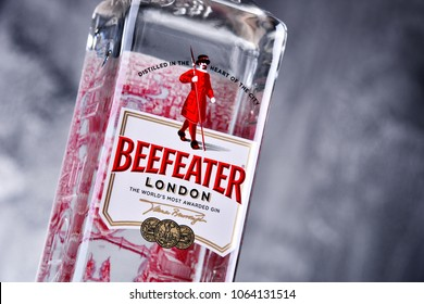 POZNAN, POLAND - MAR 30, 2018: Bottle of Beefeater Gin, a brand of gin owned by Pernod Ricard and bottled and distributed in the UK, by the company of James Burrough.