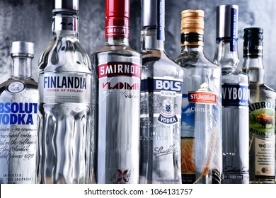 POZNAN, POLAND - MAR 30, 2018: Bottles of several global brands of vodka, the world's largest internationally traded spirit with the estimated sale of about 500 million nine-liter cases a year.