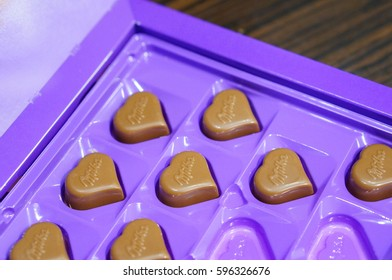 POZNAN, POLAND - MARCH 08, 2017: Milka heart shaped chocolate in a open box