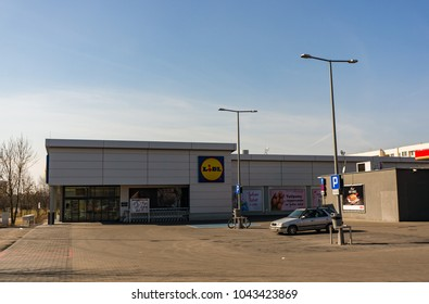 Poznan, Poland - March 11, 2018: Closed Lidl supermarket with almost empty parking lot. It is the first closed sunday after introducing the new law.