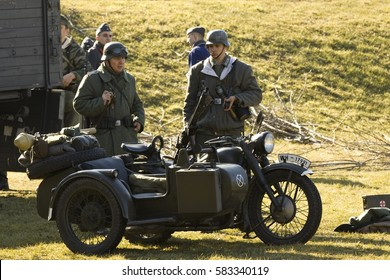 POZNAN, POLAND - MARCH 13, 2015: Staging the battle of the Second World War. The annual meeting of many reconstruction groups.