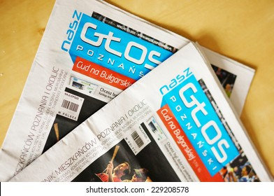 POZNAN, POLAND - MARCH 18, 2014: Close-up of an local newspaper