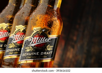 POZNAN, POLAND - MARCH 18, 2016: Miller Genuine Draft is the original cold filtered packaged draft beer, a product of the Miller Brewing Company owned by SABMiller