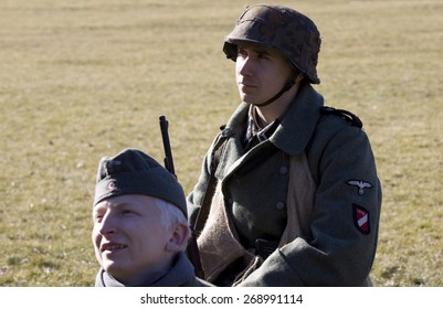 POZNAN, POLAND - MARCH 23, 2014: Re-enactment of the battle of the World War II. Anniversary of the liberation of the city of Poznan.