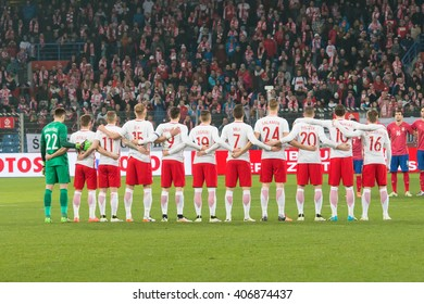 POZNAN, POLAND - MARCH 23, 2015: Poland football team before the friendly football match between Poland and Serbia at the Inea Stadium in Poznan.