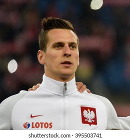 POZNAN, POLAND - MARCH 23, 2016: Arkaiusz Milik before International Football friendly match Poland vs Serbia 1:0.