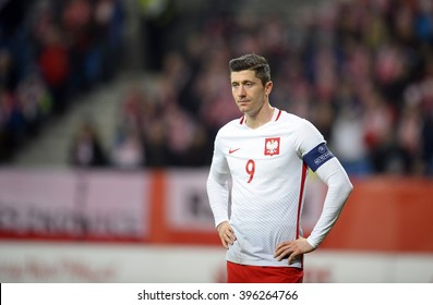 POZNAN, POLAND, MARCH 23,  2016: Inernational Friendly football game Poland - Serbiao/p Robert Lewandowski