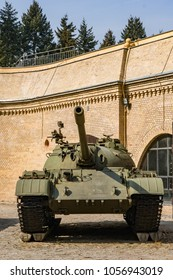 Poznan, Poland - March 25, 2018: Front of a old war tank by a museum on the Cytadela park