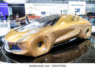 Poznan, Poland, March 28, 2019: BMW Vision NEXT100 Concept Prototype Car at Poznan International Motor Show, The Next 100 Years eco friendly future prototype car manufactured by BMW