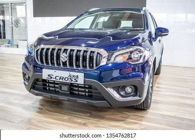 Poznan, Poland, March 28, 2019: Suzuki New SX4 S-CROSS at Poznan International Motor Show, Second generation facelift, compact crossover car produced by Japanese automaker Suzuki