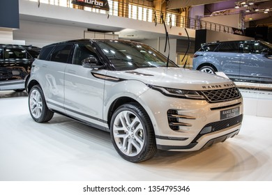 Poznan, Poland, March 28, 2019: all new Land Rover Range Rover Evoque at Poznan International Motor Show, Second generation L551, subcompact luxury crossover SUV produced by Land Rover