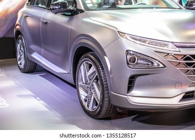 Poznan, Poland, March 28, 2019: Hyundai Nexo is Hydrogen Fuel Cell powered crossover SUV at Poznan International Motor Show, The Nexo has driving range of 800km, car produced by Hyundai
