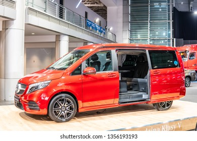 Poznan, Poland, March 28, 2019: metallic red all new Mercedes-Benz Viano Marco Polo Horizon camping edition at Poznan International Motor Show, V-Class Vito camper produced by Mercedes Benz