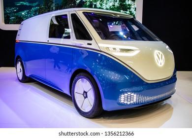 Poznan, Poland, March 28, 2019: white blue Volkswagen VW I.D. Buzz Cargo electric delivery van Concept Prototype Car at Poznan International Motor Show, EV ID Buzz Cargo created by Volkswagen