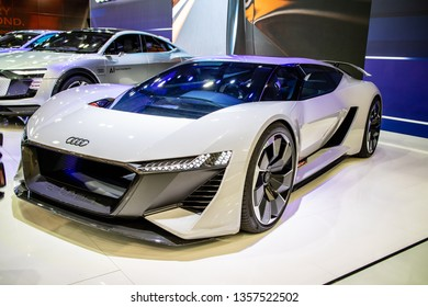 Poznan, Poland, March 28, 2019: New all-electric Audi PB18 e-tron concept car – highly automated prototype for the future at Poznan International Motor Show, produced by Audi AG