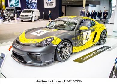 Poznan, Poland, March 28, 2019: Porsche 718 Cayman GT4 Clubsport racing bolid at Poznan International Motor Show, Fourth generation, 982, race car built by Porsche