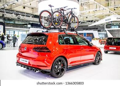Poznan, Poland, March 28, 2019: metallic red Volkswagen VW New Golf GTI TCR Performance at Poznan International Motor Show, Seventh generation, MK7, MQB platform, Typ 5G, produced by Volkswagen Group