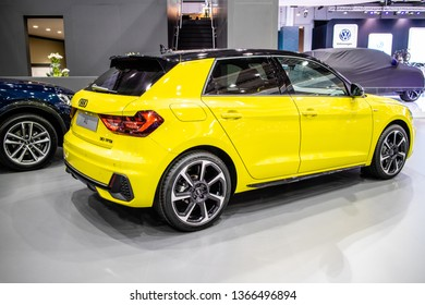 Poznan, Poland, March 28, 2019: metallic yellow new Audi A1 Sportback Sport 30 TFSI, 116PS at Poznan International Motor Show, Second generation, MQB platform, supermini car produced by Audi AG