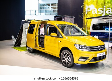 Poznan, Poland, March 28, 2019: Volkswagen VW Caddy Beach camping edition at Poznan International Motor Show, Third generation facelift, Typ 2K, camper leisure activity vehicle from Volkswagen