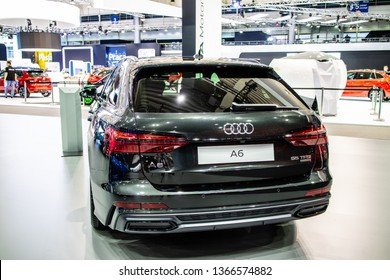 Poznan, Poland, March 28, 2019: Audi A6 Avant 55 TFSI quattro station wagon at Poznan International Motor Show, fifth generation A6, C8, combi produced by Audi AG