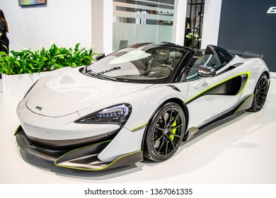 Poznan, Poland, March 28, 2019: McLaren 600LT Spider with MSO ClubSport package, MonoCell II carbon monocoque at Poznan International Motor Show, Dream Cars, supercar created by McLaren