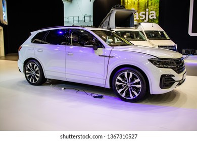 Poznan, Poland, March 28, 2019: all-new Volkswagen VW Touareg R-Line at Poznan International Motor Show, Third generation, MLB platform, mid-size luxury crossover SUV produced by Volkswagen