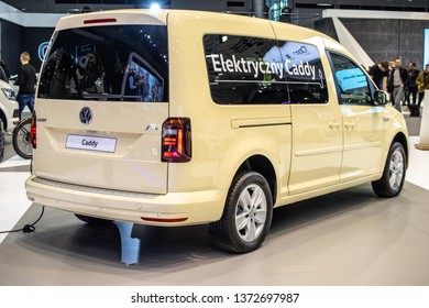 Poznan, Poland, March 28, 2019: Volkswagen VW Caddy electric at Poznan International Motor Show, Third generation facelift, Typ 2K, EV leisure activity vehicle (M-segment) produced by Volkswagen Group