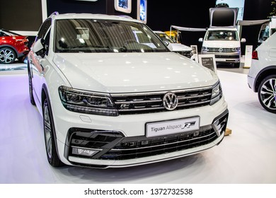 Poznan, Poland, March 28, 2019: metallic white Volkswagen VW Tiguan Allspace 2.0 TDI at Poznan International Motor Show, Second generation, MQB platform, LWB, Long Wheel Base, produced by Volkswagen