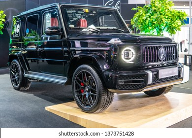 Poznan, Poland, March 28, 2019: Mercedes-AMG G 63 Exclusive Edition at Poznan International Motor Show, Second generation, W463, G-class off-road car produced by Mercedes-Benz