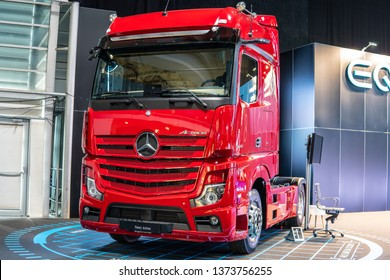 Poznan, Poland, March 28, 2019: all new Mercedes-Benz Actros heavy-duty truck at Poznan International Motor Show, Third generation,  brand's new flagship from Mercedes Benz
