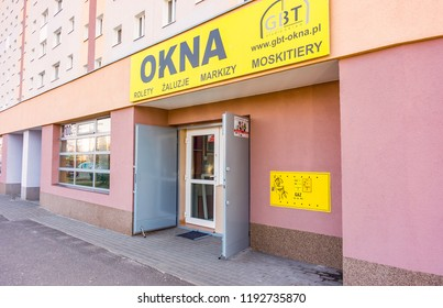 Poznan, Poland - March 9, 2015: Front of a Okna roll blinder store