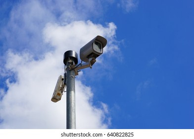 POZNAN, POLAND - MAY 11, 2017: Security cam on a long pole in the city center