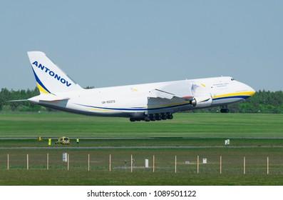POZNAN, POLAND - May 11, 2018: An-124 Ruslan Antonov International cargo transporter plane at the Lawica airport in Poznan. Ruslan Antonov is one of the biggest plane in the World.