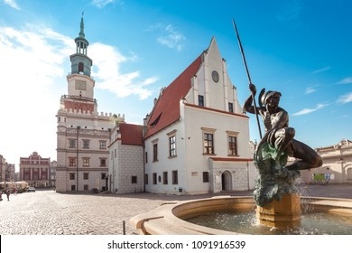 Poznan, Poland - May 15 2018:  Charming Town Hall and Market Square on morning