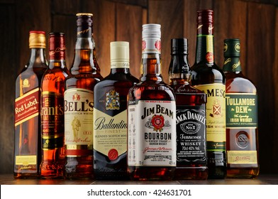 POZNAN, POLAND - MAY 17, 2016: Whiskey is the most popular liquor in the world. Originated probably in Ireland, now it is produced on grand scale also in India, Scotland, USA, Canada and Japan.