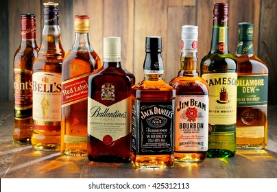 POZNAN, POLAND - MAY 17, 2016: Whiskey is the most popular liquor in the world. Originated probably in Ireland, now it is produced on grand scale also in India, Scotland, USA, Canada and Japan