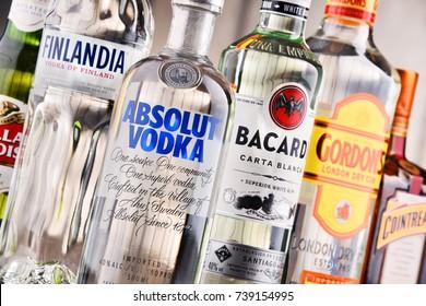POZNAN, POLAND - MAY 17, 2017: Bottles of assorted global hard liquor brands