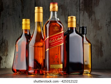 POZNAN, POLAND - MAY 18, 2016: Johnnie Walker is the most widely distributed brand of blended Scotch whisky in the world with sales of over 130 million bottles a year.