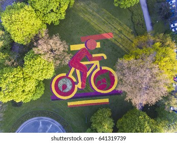Poznan, Poland- May 2017; Bike made of flowers in Mickiewicz Park, aerial view, Poznan, Poland 11.05.2017