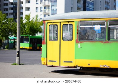 POZNAN, POLAND - MAY 24, 2015: Out of order tram standing by the Rataje bus station